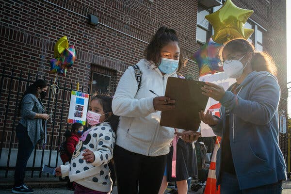 The first day of classes at a school in Queens last month.