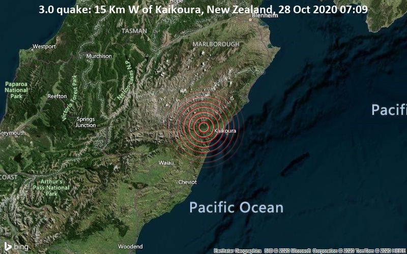 3.0 quake: 15 Km W of Kaikoura, New Zealand, 28 Oct 2020 07:09