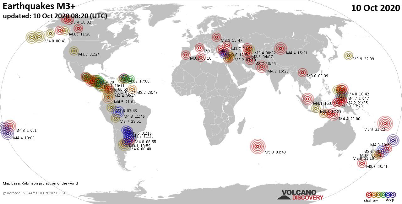 Worldwide earthquakes above magnitude 3 during the past 24 hours on 10 Oct 2020