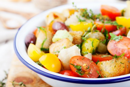 Panzanella, chopped salad with stale bread