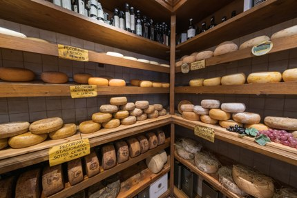 A cheese shop in Valdorcia, Tuscany