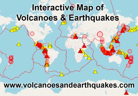 Interactive map of latest earthquakes and active volcanoes in the world