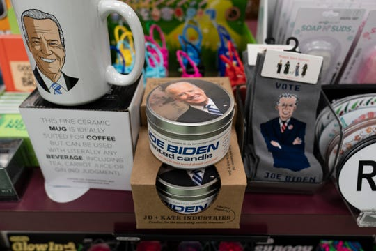 A display of President-elect Joe Biden and Jill Biden books and keepsakes including a scented candle, are available at Browseabout Books, Friday, Nov. 13, 2020, in Rehoboth Beach, Del.