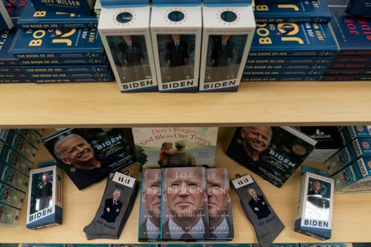 A display of President-elect Joe Biden and Jill Biden books and keepsakes are available at Browseabout Books, Friday, Nov. 13, 2020, in Rehoboth Beach, Del.