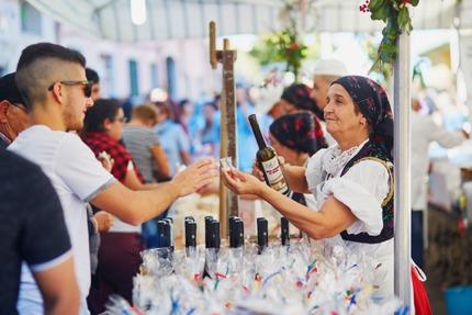 Wine tasting at the Autonno festival, Sardinia