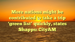 More nations might be contributed to take a trip 'green list' quickly, states Shapps: CityAM