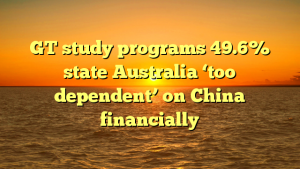 GT study programs 49.6% state Australia 'too dependent' on China financially