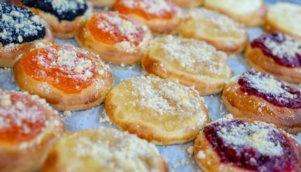 An assortment of kolache pastries