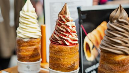 Traditional tasty baked trdelník with ice cream