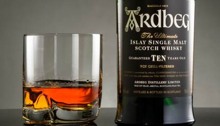 A bottle and glass of Argbeg